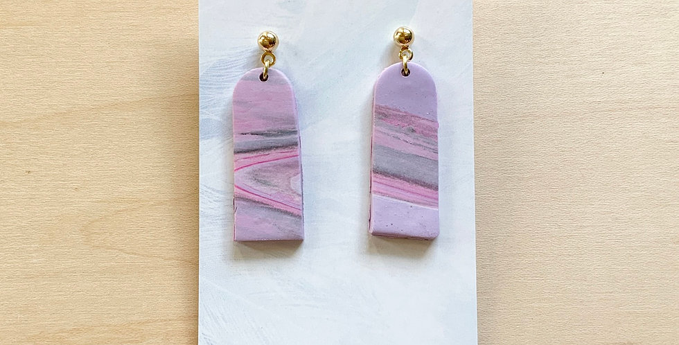 Tall Lavender Latte | Clay Earrings