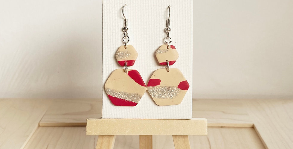 Abstract Candy Cane Hexagon | Clay Earrings