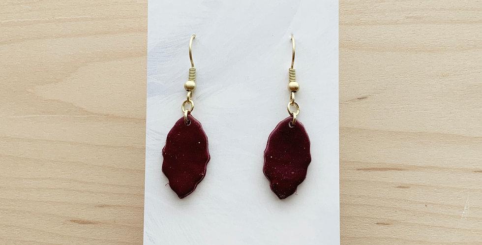 Burgundy Tea Leaves | Clay Earrings