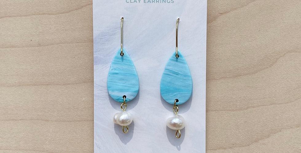 Alberta Aqua Drops | Clay Earrings