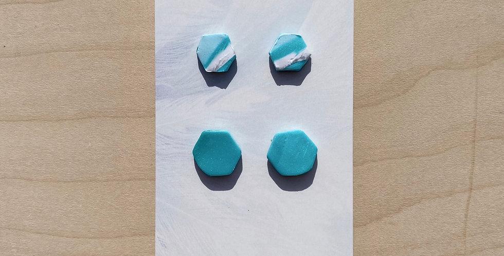 Aqua Cute Hexagons | Clay Earrings