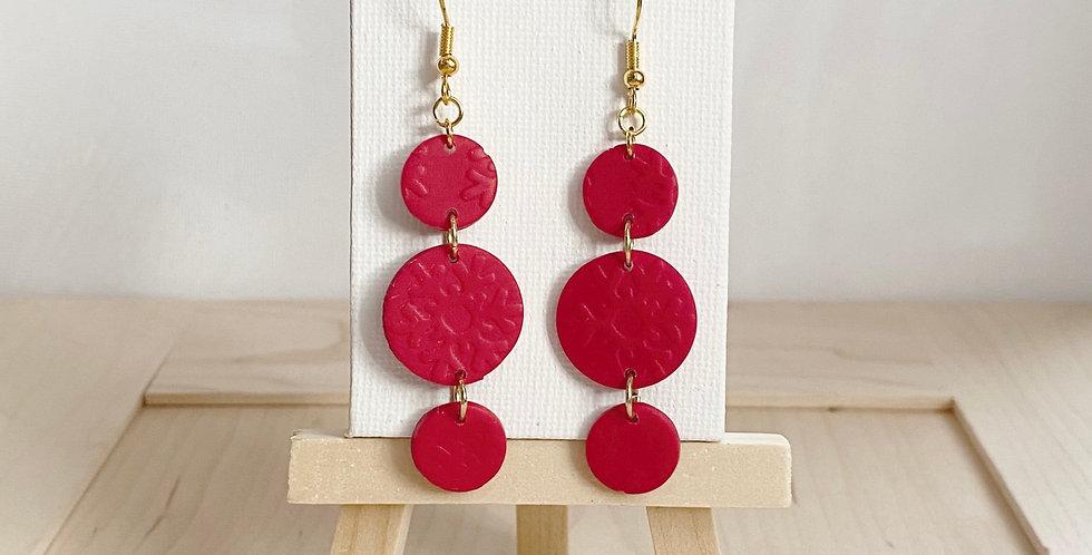 Red Snowflakes | Clay Earrings
