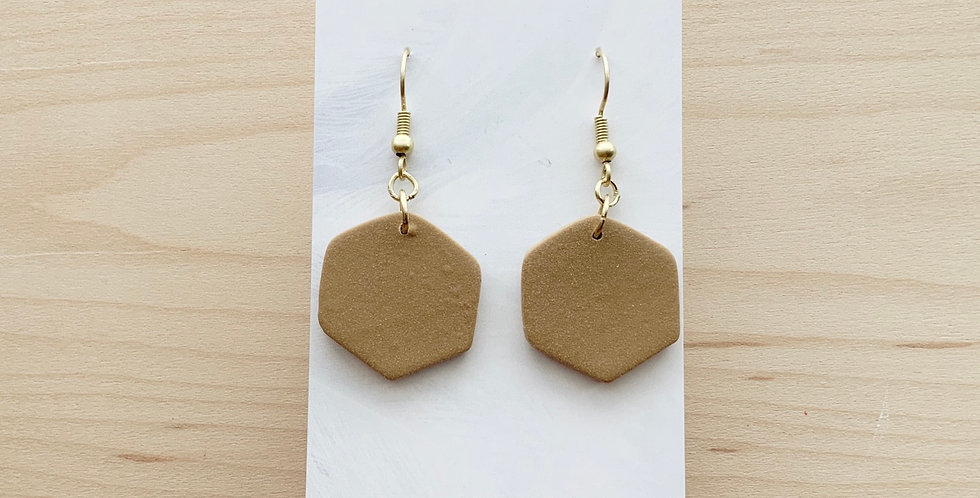 Latte Coloured Hexagons | Clay Earrings