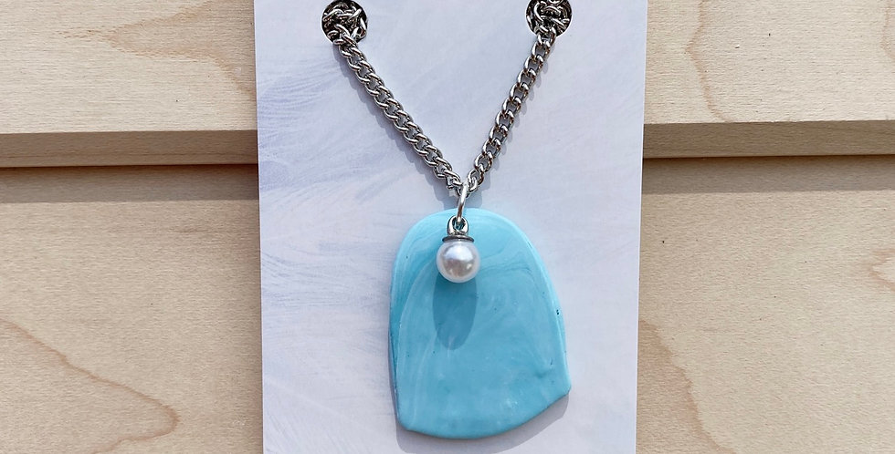Blue & Pearl | Clay Necklace