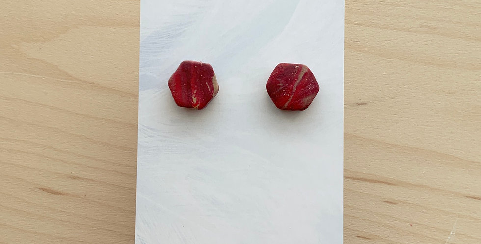Marbled New Wine Hexagons | Clay Earrings