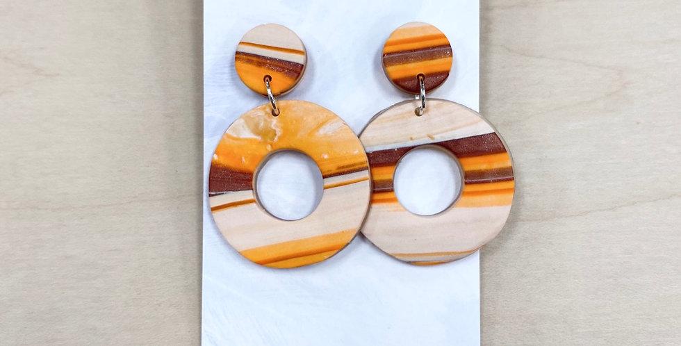 Striped Sun Hoops | Clay Earrings
