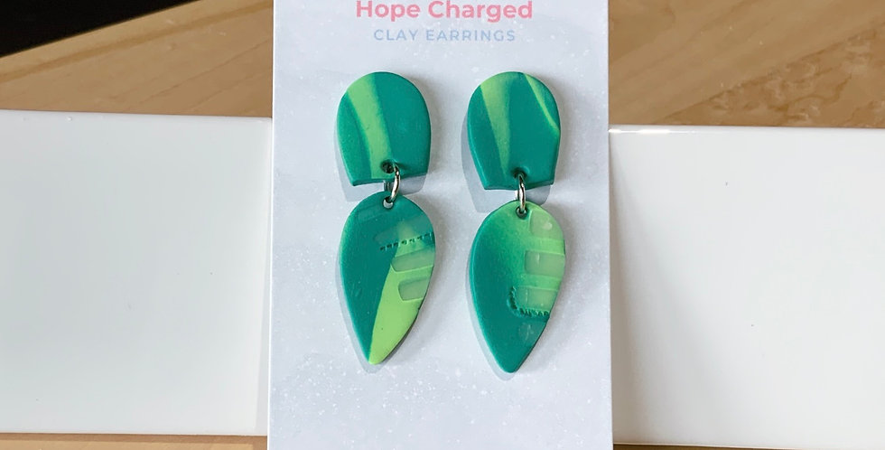 Abstract Drop Leaves | Clay Earrings