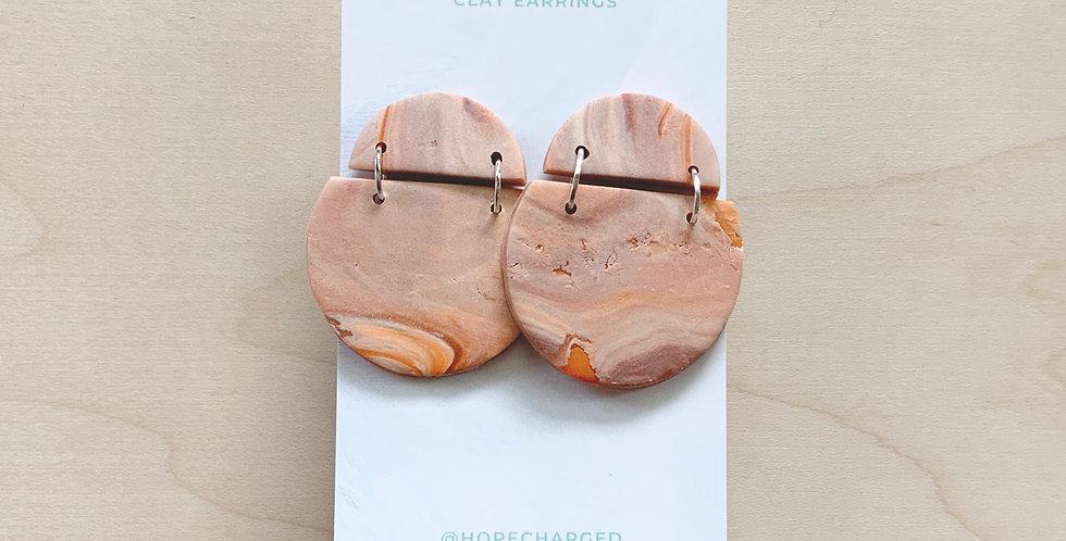 Pumpkin Spice Marble    Clay Earrings