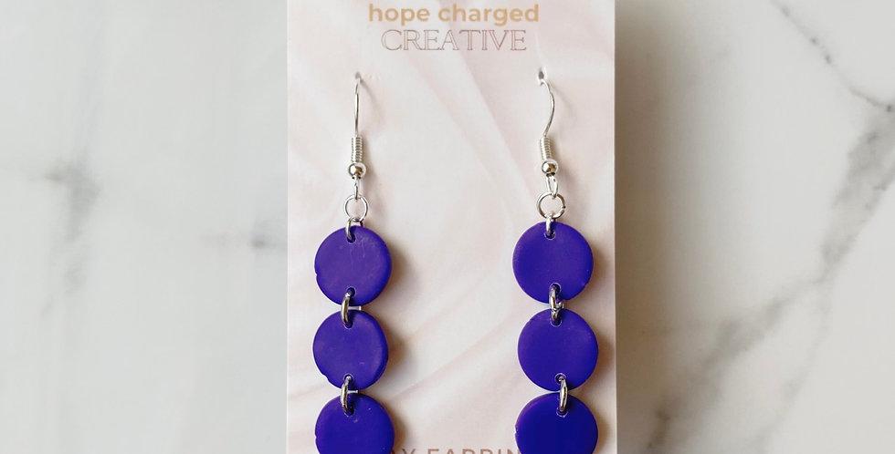 Mini Three Sisters in Purple | Clay Earrings