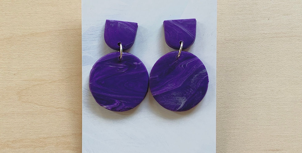 The Perfect Marble | Amethyst Collection | Clay Earrings