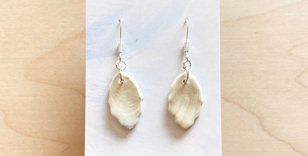 Golden Marble Leaves | Clay Earrings