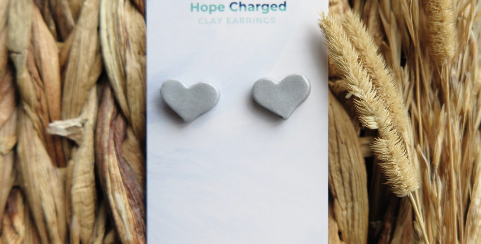 You Are Loved Heart Studs | Clay Earrings