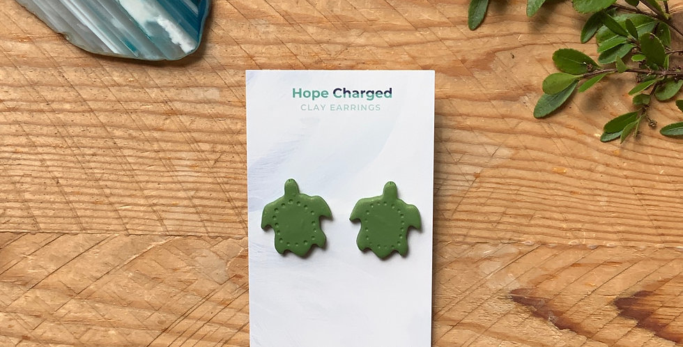 Turtle Studs | Beach Style | Clay Earrings