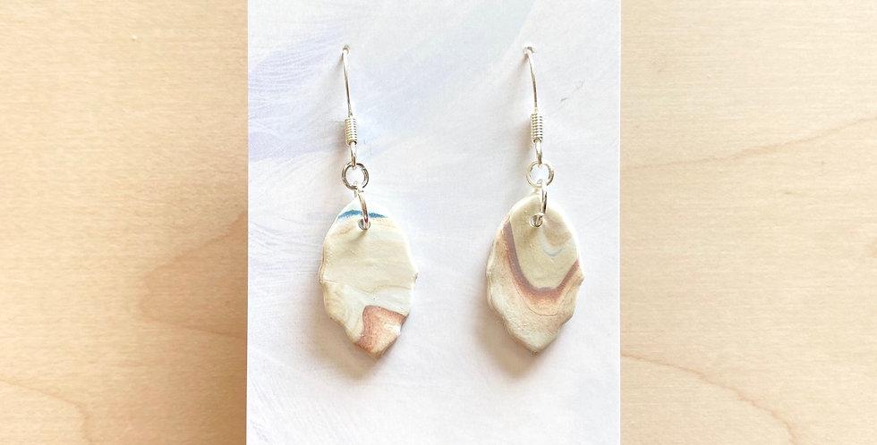 Golden Marble Leaves | Clay Earrings