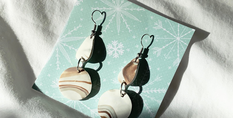 Xmas Marble Dangling II • Clay Earrings