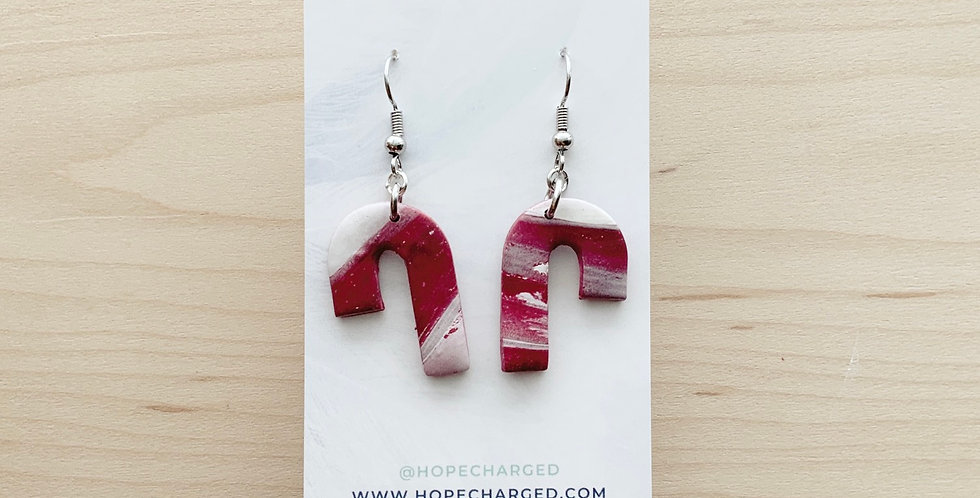 Marbled Candy Canes | Clay Earrings