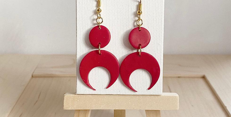 Love Over The Moon    Clay Earrings