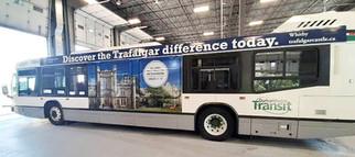 Branded bus advertising appearing on Durham Region Transit vehicles.