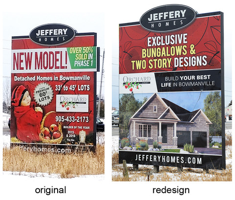 Signage is key to any builder and Aftershock designed a Jeffery Homes sign that is eye-catching and informative. Along with a new tagline and a computer house rendering, these signs were transformed and reflect the new brand and approach that Jeffery Homes is taking. By incorporating a new tagline and computer generated house rendering, these signs were transformed to reflect the new brand and approach that Jeffery Homes has embraced.