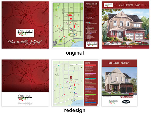 """Original and redesigned Orchard East brochure and """"Carleton"""" sell sheet. The existing apple pattern along with the Orchard East logo were key elements that Aftershock continued to use for this updated look to maintain existing brand recognition. Both pieces were redesigned to freshen up the overall look and messaging."""