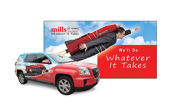 """MILLS MOTORS  This visual metaphor perfectly captures this auto dealership's """"Whatever It Takes"""" brand promise, applied to a 40' x 20' billboard, and fleet of vehicles."""