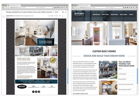 Developing supplemental marketing pieces such as this Custom Homes eblast and landing page is an example of the extension of Aftershock's full suite of services. In today's multi-channel world, these additional marketing touch-points are key elements when building your brand.