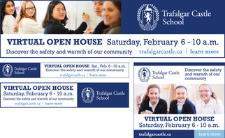 Consistent branding with an adaptable design is always key, as demonstrated in this sampling of online ads promoting a Virtual Open House.