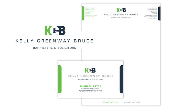 KELLY GREENWAY BRUCE  A complete brand make-over for an Oshawa law firm, including logo, signage and print collateral.