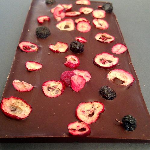 Tablilla de arándano y blueberry deshidratado.