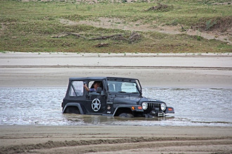 All about the fun - Jeep getting stuck in the driftsand