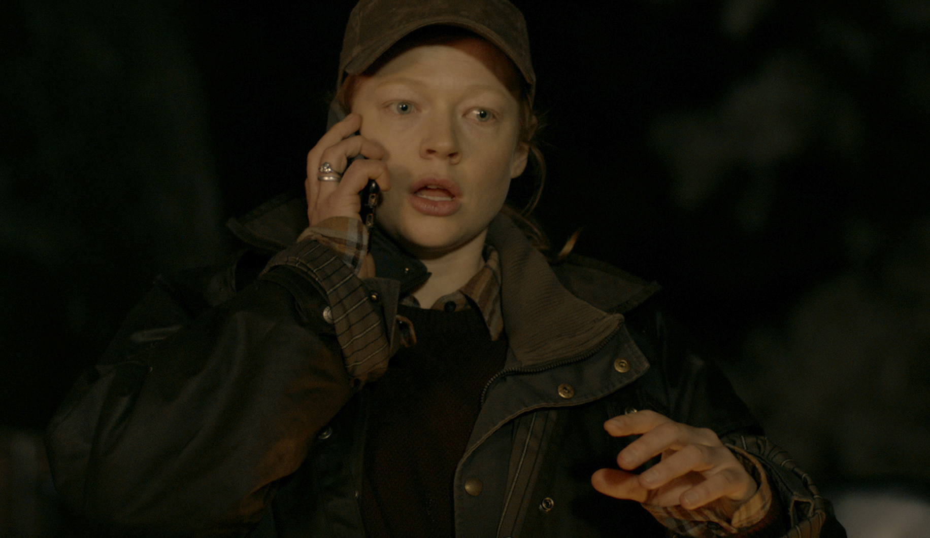 Sarah Snook on phone
