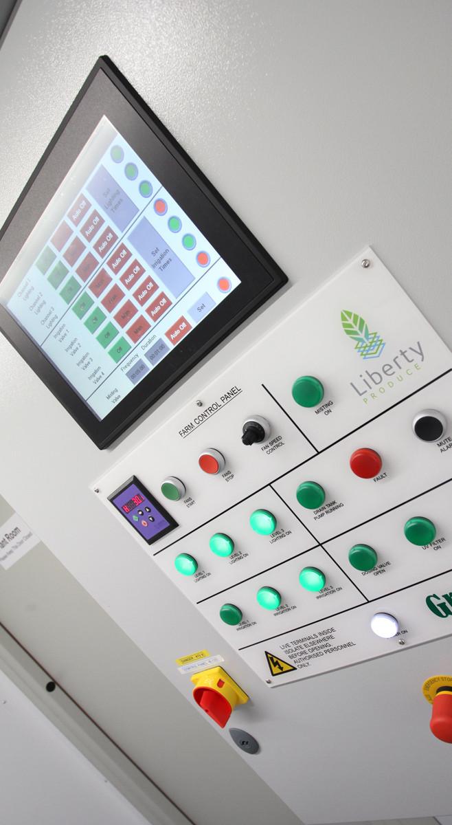 A control panel inside a vertical farm