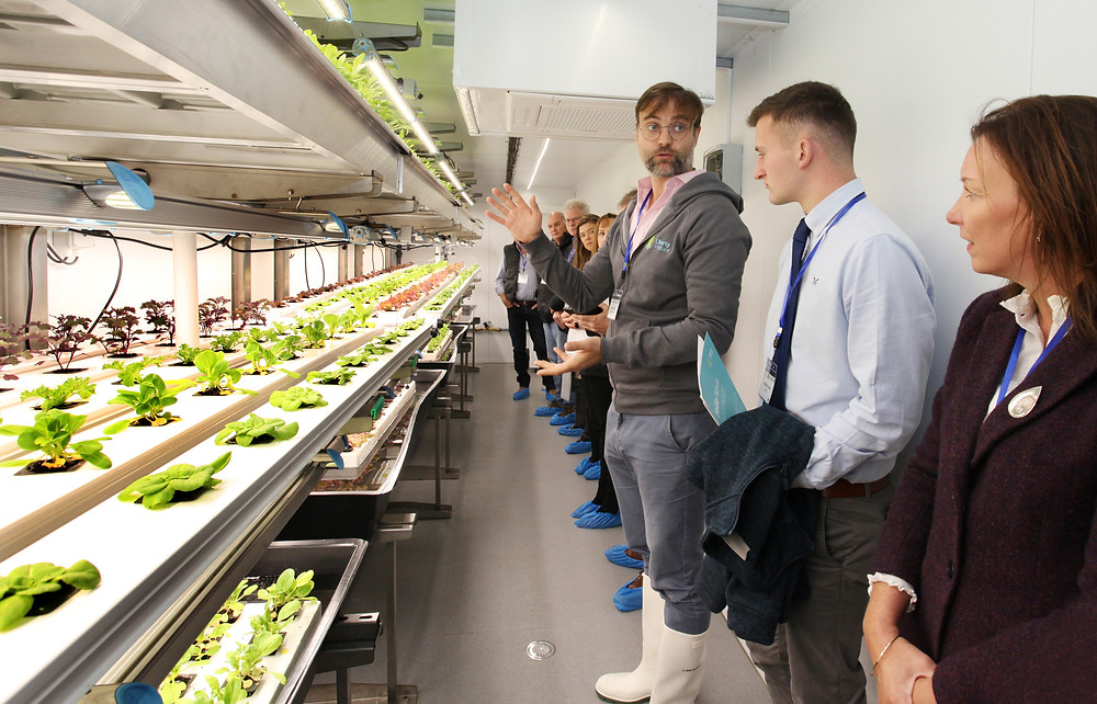 An image of several people inside a vertical farm in a shipping container