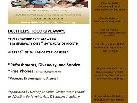 DCCI HELPS: DCCI Food Ministry!  Emergency Groceries: Food Giveaways: Monthy Mega Food Giveaways (No