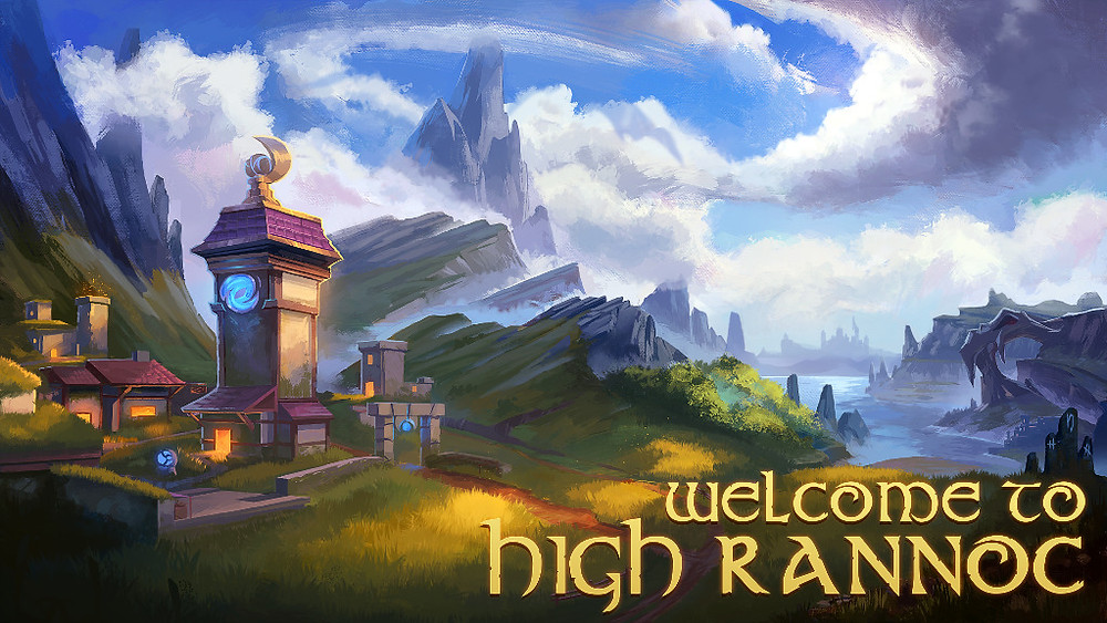 Welcome to High Rannoc, a picture of a fantasy village with a magical clock tower that reads the moon's phase rather than time. A massive mountain pierces swirling clouds in the background while a glittering forest edges onto a lake full of sharp rocks. At the edge of the image, a huge skull marks the entrance to a dungeon.