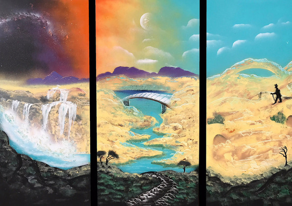 """Wanderer Triptych (Day 12)  Spray Paint on Canvas 60 x 28"""" 2017"""