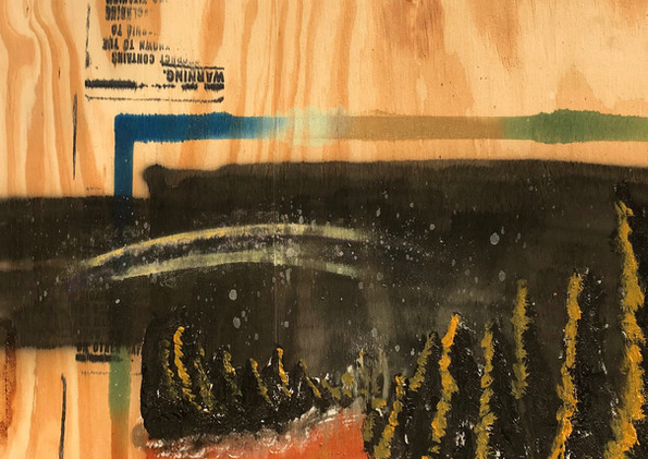 "Milky Wood (Day 8) Spray Paint, Texture Paste, Acrylic on Pine  24 x 24"" 2017"