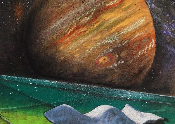 "Suprasensible Jupiter Spray paint, collage, digital, oil pastel on wood 18 x 14"" 2020"