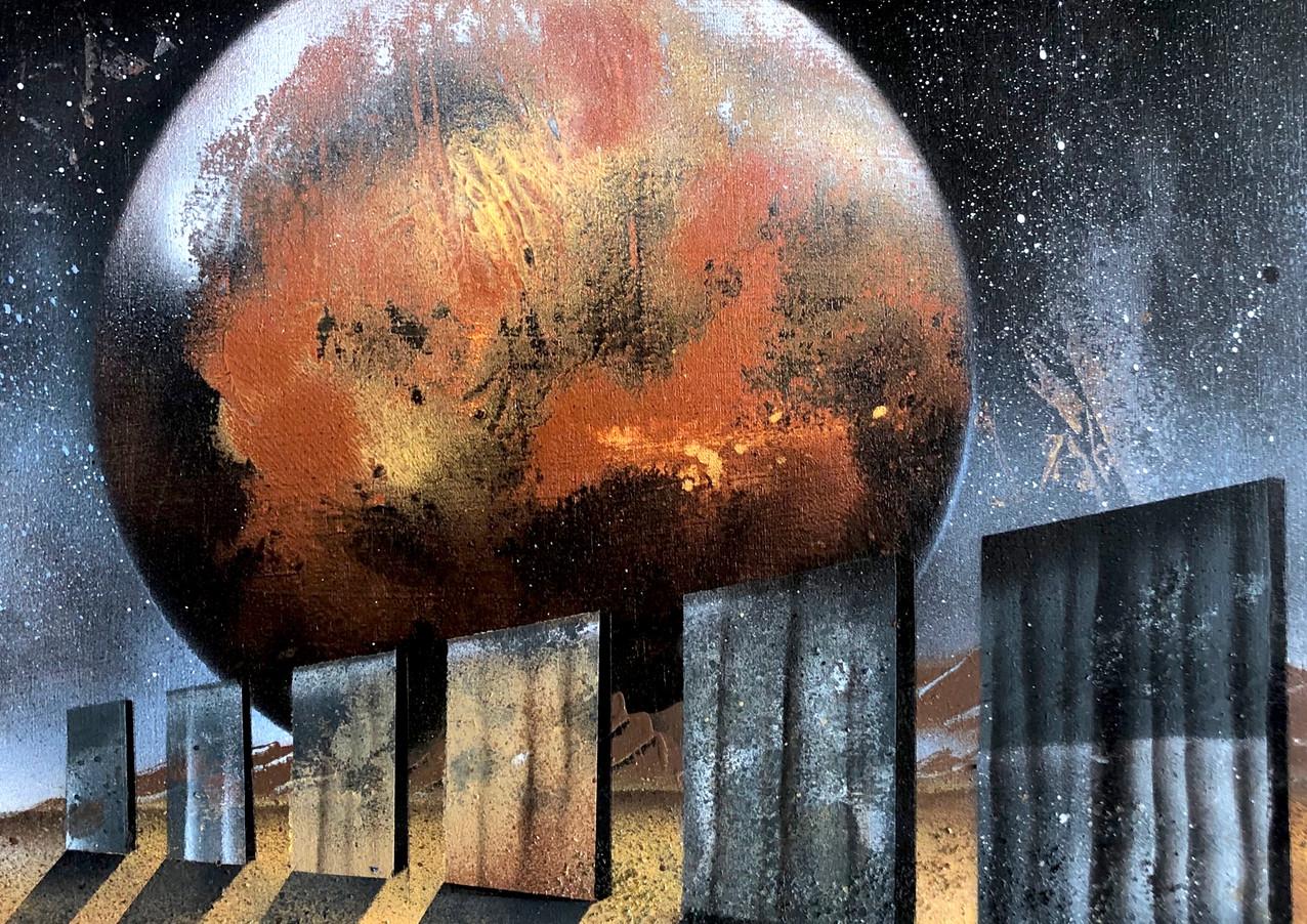 "Sojourner Mars Spray paint on wood 16 x 16"" 2020"