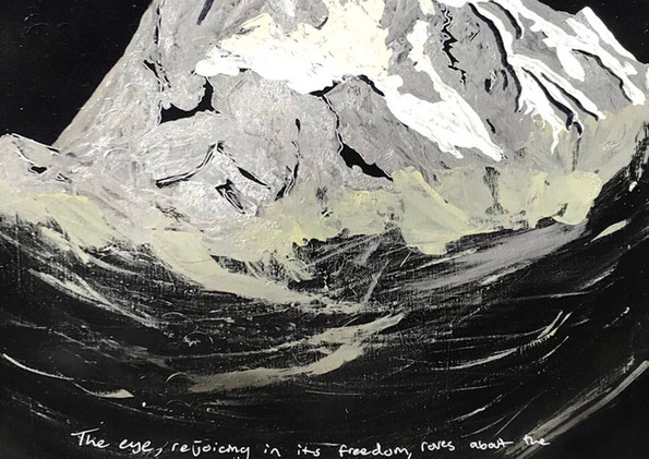 """Glorious Banner and Ritter Peak (Day 4)  Spray Paint, Marker on Canvas 48 x 24"""" 2017"""