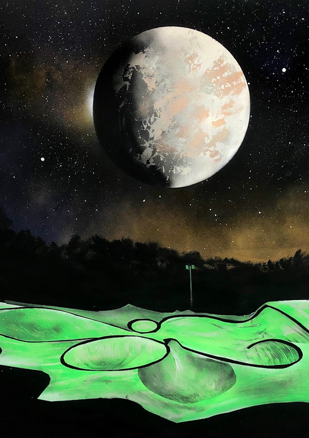 "Perennial Twilight of Mercury Spray paint on canvas  48 x 60""  2019"