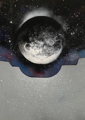 """Eclipse Spray paint, marker on found canvas 22 x 28"""" 2019"""