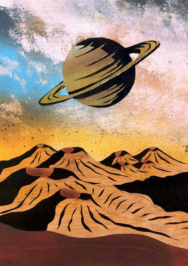 "Coterminous Saturn Spray paint on wood 15 x 14"" 2020"