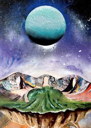 "Nexus of Uranus Spray paint, collage, oil pastel, digital on wood 19 x 12"" 2020"