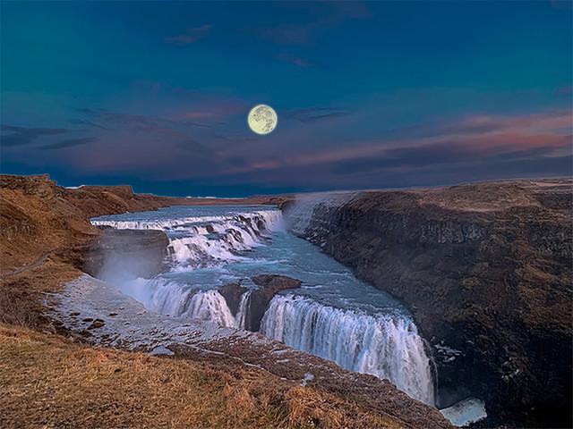 Gullfoss Waterfall Iceland Full Moon