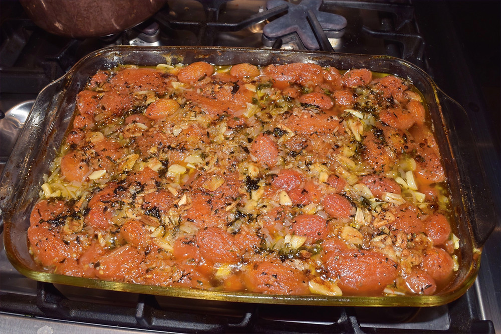 After baking the tomato confit provides a delicious aroma
