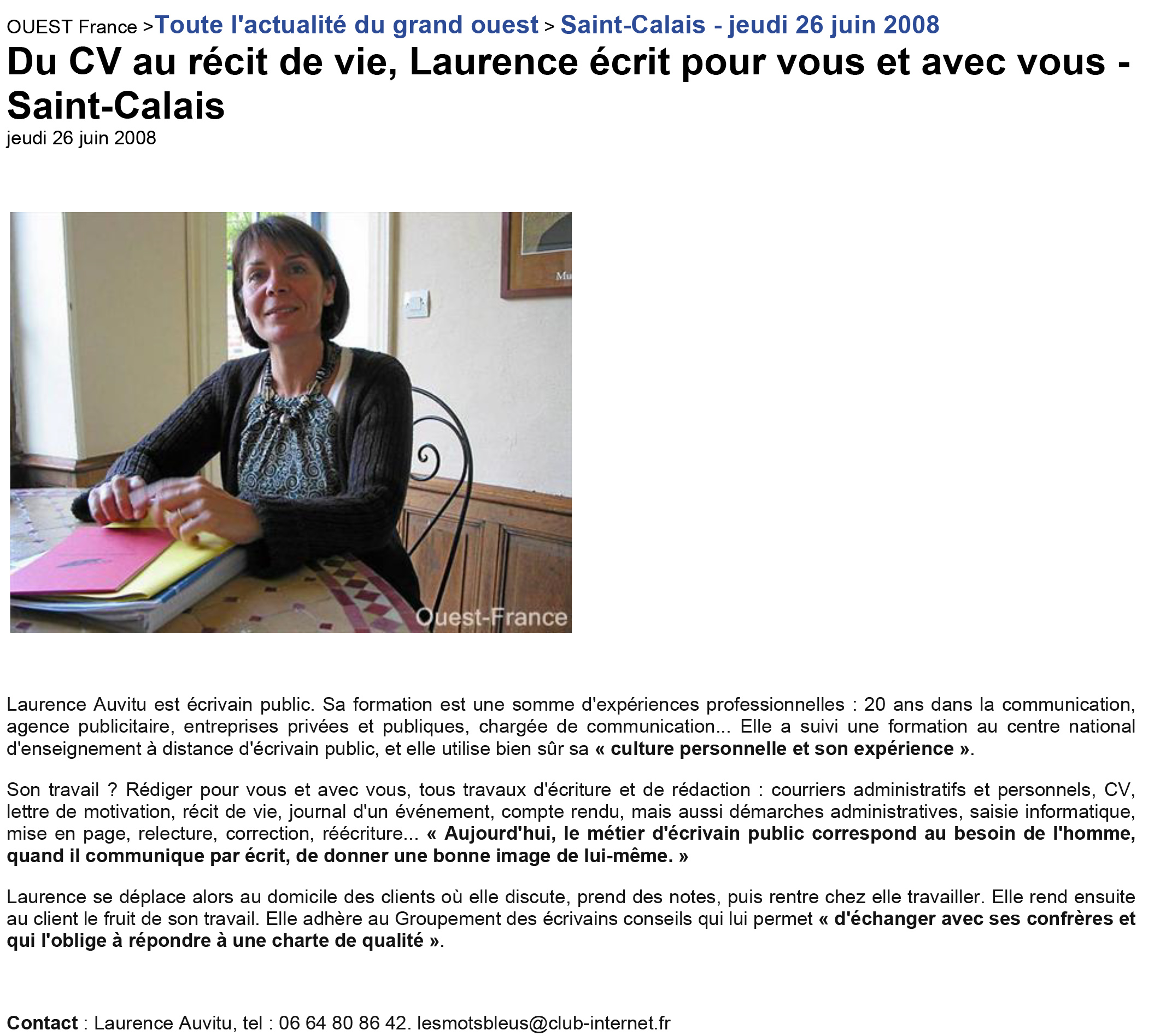 Ouest France 26/06/2008
