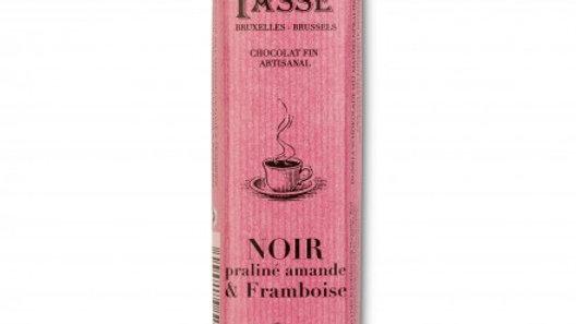 Barre de chocolat noir praliné amande & framboise