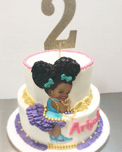 Yesterday I had the pleasure of making this cake for a really cute 2 year old! The cake was Purple V