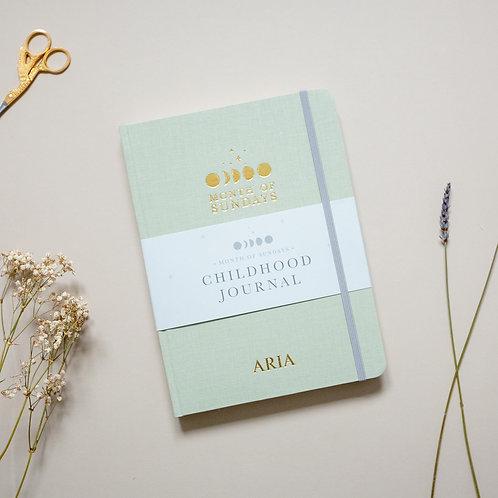 'Pistachio' Personalised Childhood Journal